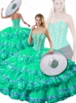 Pretty Sweetheart Beading and Ruffled Layers Detachable Quinceanera Gowns