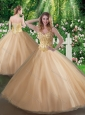 Affordable A Line Champagne Sweet 16 Gowns with Beading