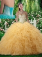 Beautiful Ball Gown Sweetheart Quinceanera Dresses with Beading in Champagne