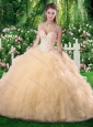 Cute Ball Gown Champange Quinceanera Dresses with Beading and Ruffles