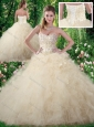 Exquisite Champagne Sweet 16 Dresses with Beading and Ruffles