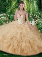 Gorgeous Straps Beading Sweet 16 Gowns in Champange