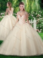Inexpensive A Line Champange Quinceanera Dresses with Beading and Appliques