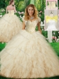 Latest Sweetheart Champagne Quinceanera Dresses with Beading
