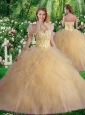 Luxurious Sweetheart Champagne Quinceanera Dresses with Beading