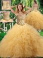 2016 Exclusive Ball Gown Sweet 16 Dresses with Beading and Ruffles in Champagne