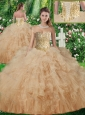 2016 New Arrivals Sweetheart Quinceanera Gowns with Beading and Ruffles in Champagne