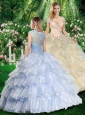 2016 Romantic Ball Gown Quinceanera Gowns with Beading and Ruffled Layers