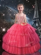 Beautiful Ball Gown Straps Little Girl Pageant Dresses with Beading