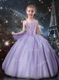 Classical Straps Little Girl Pageant Dresses in Lavender