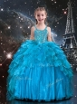 New Arrivals Straps Little Girl Pageant Dresses with Beading in Blue
