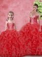 Wonderfu Floor Length  Princesita with Quinceanera Dresses with Beading and Ruffles for Winter