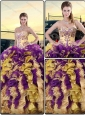 2016 Beautiful Embroidery and Ruffles Quinceanera Dresses in Multi Color