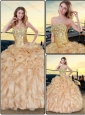 Perfect Champagne Quinceanera Dresses with Sequins and Ruffles