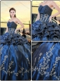 Popular Navy Blue Ball Gown 2016 Quinceanera Dresses with Embroidery