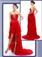Cheap High Low Beading and Ruffled Layers Celebrity Dresses in Red