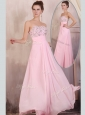 Gorgeous Empire Sweetheart Beading Baby Pink  Dama Dresses