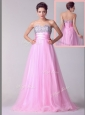 Lovely A Line Brush Train Rose Pink Celebrity Dresses with Beading for Spring