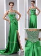 Luxurious Column Beading and High Slit Celebrity Dresses with Court Train