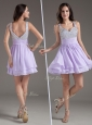 Simple Straps Mini Length Lavender Cocktail Dresses with Beading