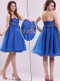 Classical Short Sweetheart Beading Discount Prom Dress in Blue
