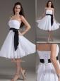 Elegant Strapless Sash White Short Dama Dress for Homec