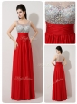 Fashionable Scoop Empire Beading Red Prom Dresses