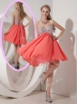 Lovely Sweetheart Beading Short Prom Dress in Watermelon Red for Homecoming