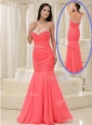 New Style Mermaid Sweetheart Coral Red Prom Dress