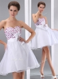 Popular Sweetheart White Short Prom Dresses with Beading