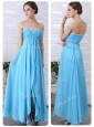 Pretty Empire Sweetheart Slit Discount Prom Dresses in Aqua Blue