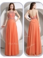 Romantic Empire Halter Top Orange  Popular Prom Dresses with Beading
