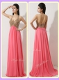 The Most Popular Halter Top Brush Train Watermelon Red  Discount Prom Dresses