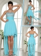 Wonderful Sweetheart High Low Beading and Paillette Discount Prom Dress in Aqua Blue