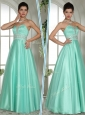 Elegant A Line Sweetheart Beading Prom Dresses in Apple Green
