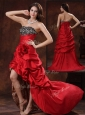 Gorgeous High Low Strapless Prom Dress With Hand Made Flowers