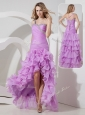 Perfect Column High Low Prom Dress with Ruffled Layers