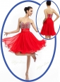 Perfect Sweetheart Red Short Prom Dresses with Beading
