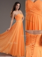 Low Price Sweetheart Floor Length Ruching Prom Dress in Orange