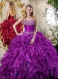 Super Hot Sweetheart Purple Quinceanera Dresses with Beading and Ruffles