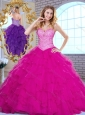 2016 Cute Sweetheart Beading and Ruffles Quinceanera Dresses in Fuchsia