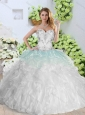 2016 Cute  Sweetheart White Quinceanera Dresses with Appliques and Ruffles