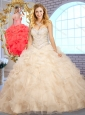 Cute Ball Gown Champagne Sweet 16 Quinceanera Dresses with Beading and Ruffles