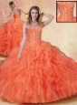 Cute Ball Gown Orange Red Sweet 16 Quinceanera Dresses with Ruffles
