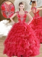 Cute Beading and Ruffles Quinceanera Dresses in Red