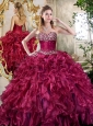 Cute  Burgundy Quinceanera Dresses with Beading and Ruffles