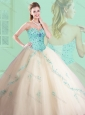 Cute Sweetheart Beading and Appliques Champagne Quinceanera Dresses
