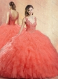 Cute  V Neck Sweet 16 Quinceanera Dresses with Ruffles and Appliques