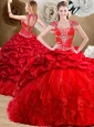 Fashionable Red Sweet 16 Dresses with Beading and Pick Ups