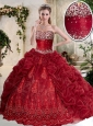 Gorgeous Brush Train Wine Red Quinceanera Dresses with Embroidery